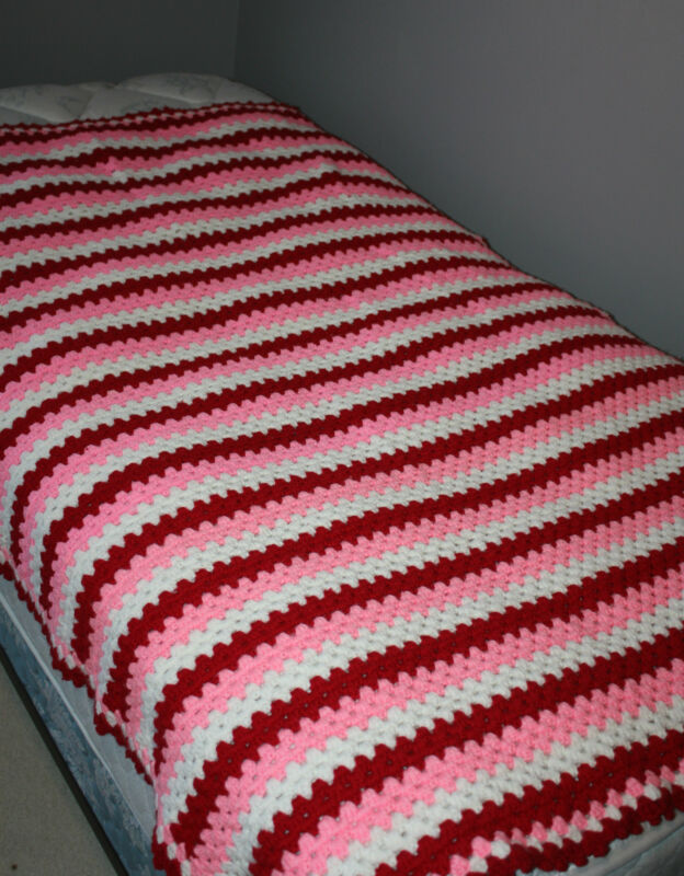 "Hand Crocheted Pink Red White Afghan Throw Blanket Size 50"" x 60"""