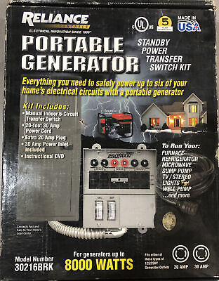 Reliance 30216brk 6 Circuit 30 Amp Generator Transfer Switch Manual Dvd