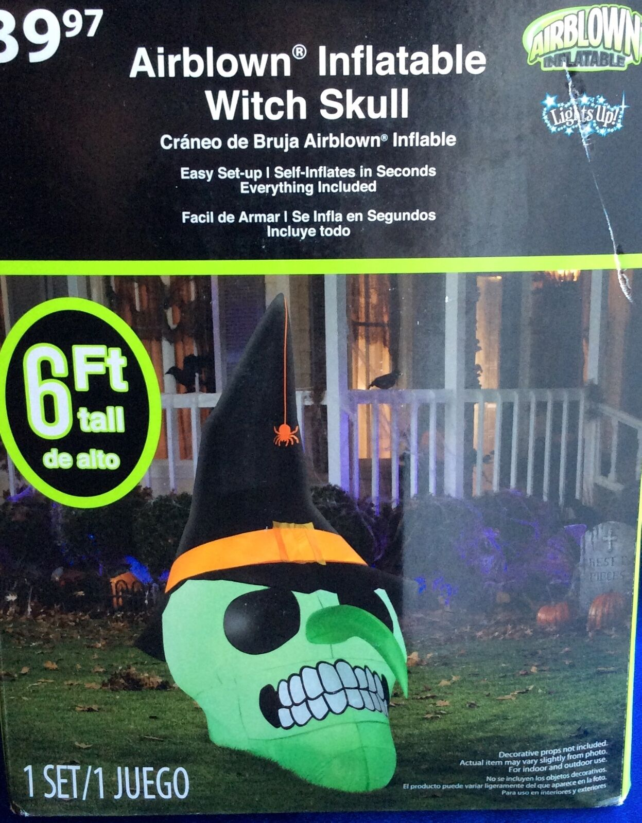 Nib6 Feet Witch Skull Halloween Inflatable Blow Up/air Blown