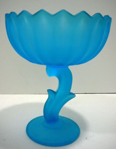 VINTAGE INDIANA GLASS BLUE FROSTED SATIN PEDESTAL CANDY DISH LOTUS BLOSSOM