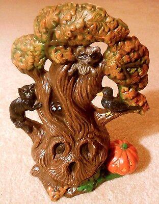 Vintage Ceramic Halloween SPOOKY TREE Figurine Black Cat Pumpkin Holland Mold