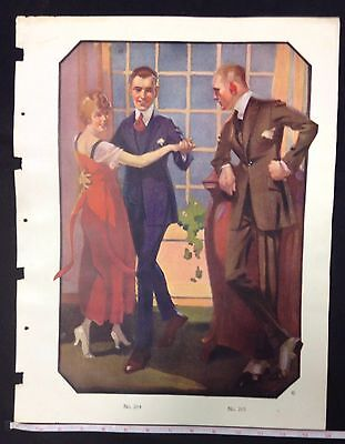 1900s MALE CLOTHING FASHION SALESMAN SAMPLE PRINT ON DOUBLE  WEIGHT PAPER #a9