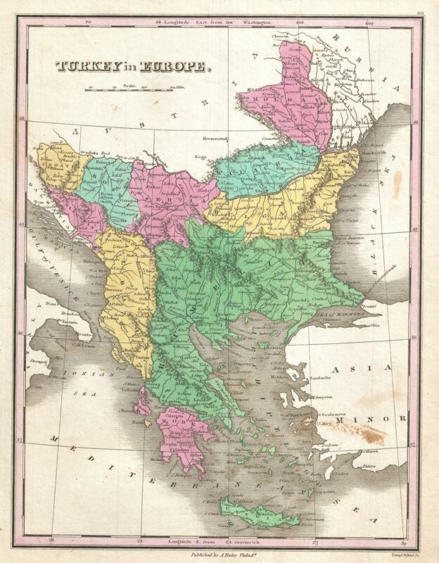 1827 Finley Map of Turkey in Europe, Greece and the Balkans