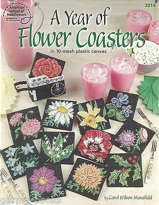 A Year of Flower Coasters Plastic Canvas Florals Patterns Instruction NEW ASN