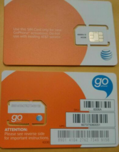 AT&T SIM CARD 3G/4G PREPAID GO PHONE 3G READY TO ACTIVATE.SKU 6006a