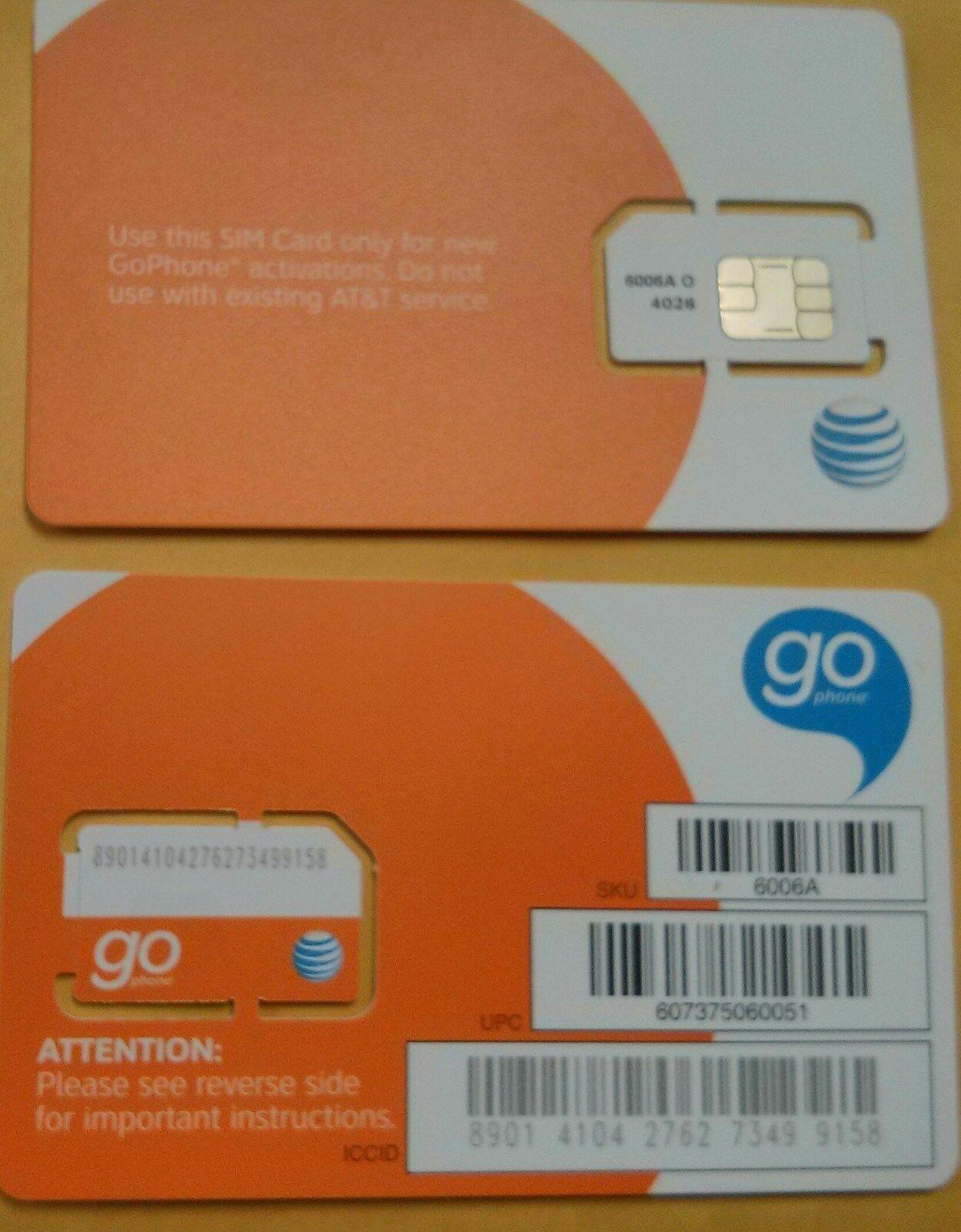 NEW AT&T Nano SIM Card GSM 4G LTE • Prepaid GoPhone or Con