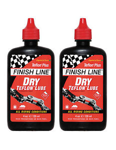 Finish-Line-Dry-Bike-Bicycle-Cycle-Teflon-Chain-Lube-4oz-120ml-x2
