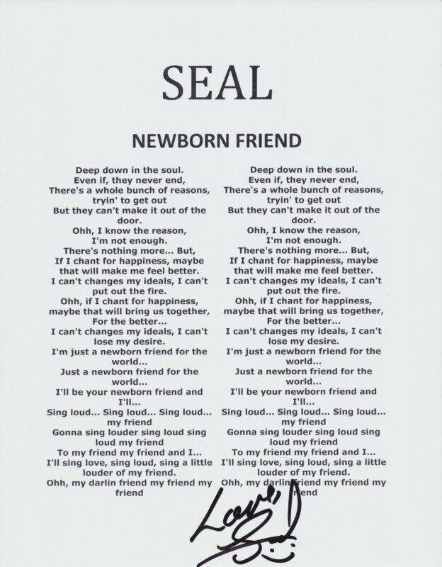 SEAL SIGNED NEWBORN FRIEND LYRIC SHEET