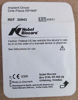 Reduced Nobel Biocare Implant Driver One-piece Rpwp Ref 30943