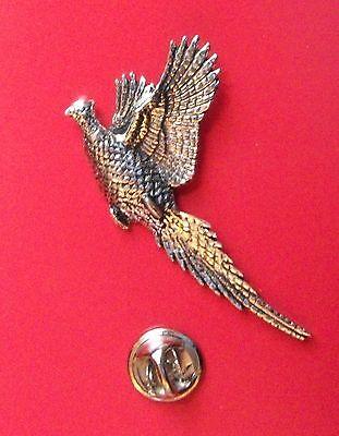 English Pewter Rising Pheasant, bird Pin Badge Tie Pin / Lapel Badge B24