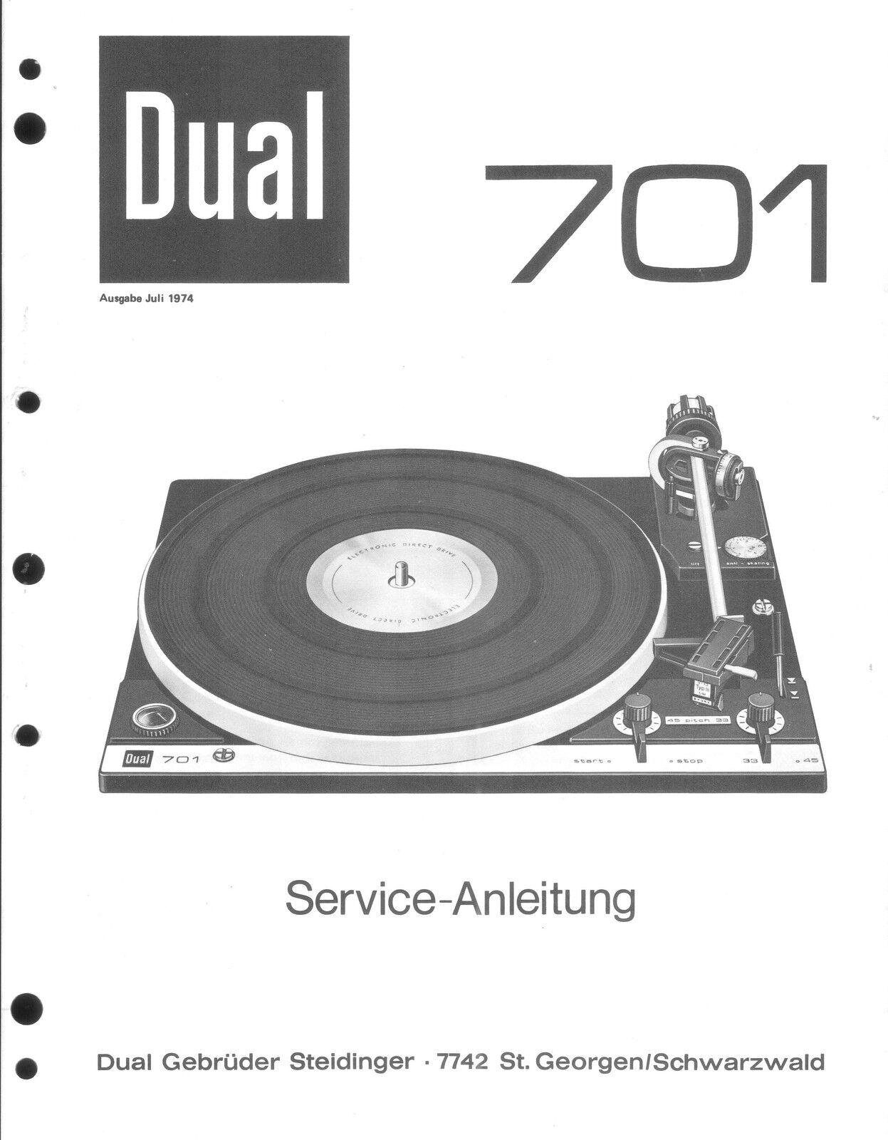 Dual Service Manual für 701  .