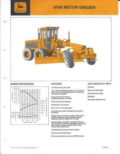 Equipment Brochure - John Deere - JD 670A - Motor Grader - c1981 (E4613)