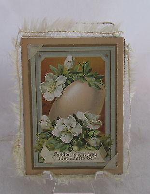 Victorian Easter Cardboard Framed Postcard Egg Flowers Golden Bright Silk Fringe
