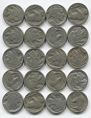 20 Indian Head Buffalo Nickel Coins Lot Full Date 1 2 Roll Mixed Set Collection