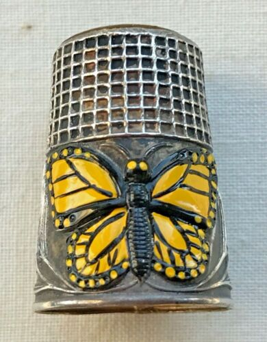 Yellow & Black Butterfly Floral Repousse Silver Thimble Portugal