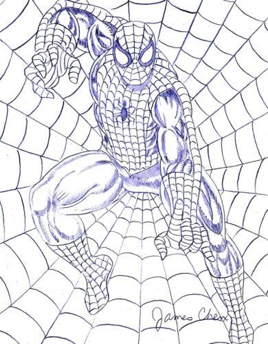 THE AMAZING SPIDER-MAN ORIGINAL COMIC ART SKETCH BY COMIC ARTIST JAMES CHEN
