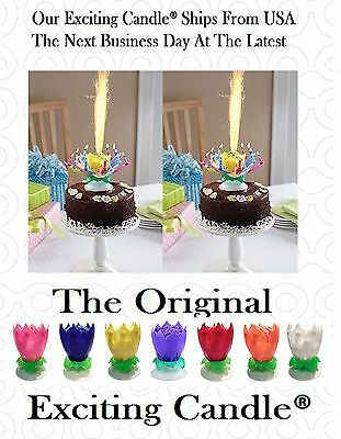 TWO Amazing Rainbow Music Rotating Exciting Lotus Flower Happy Birthday Candles