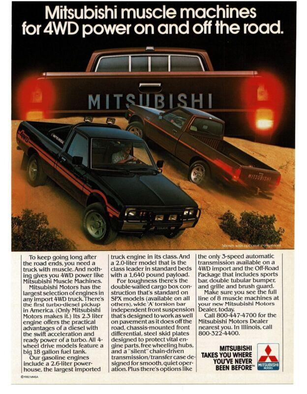 1983 MITSUBISHI Black, Brown Pickup Trtuck 4WD 4x4 Vintage Ad