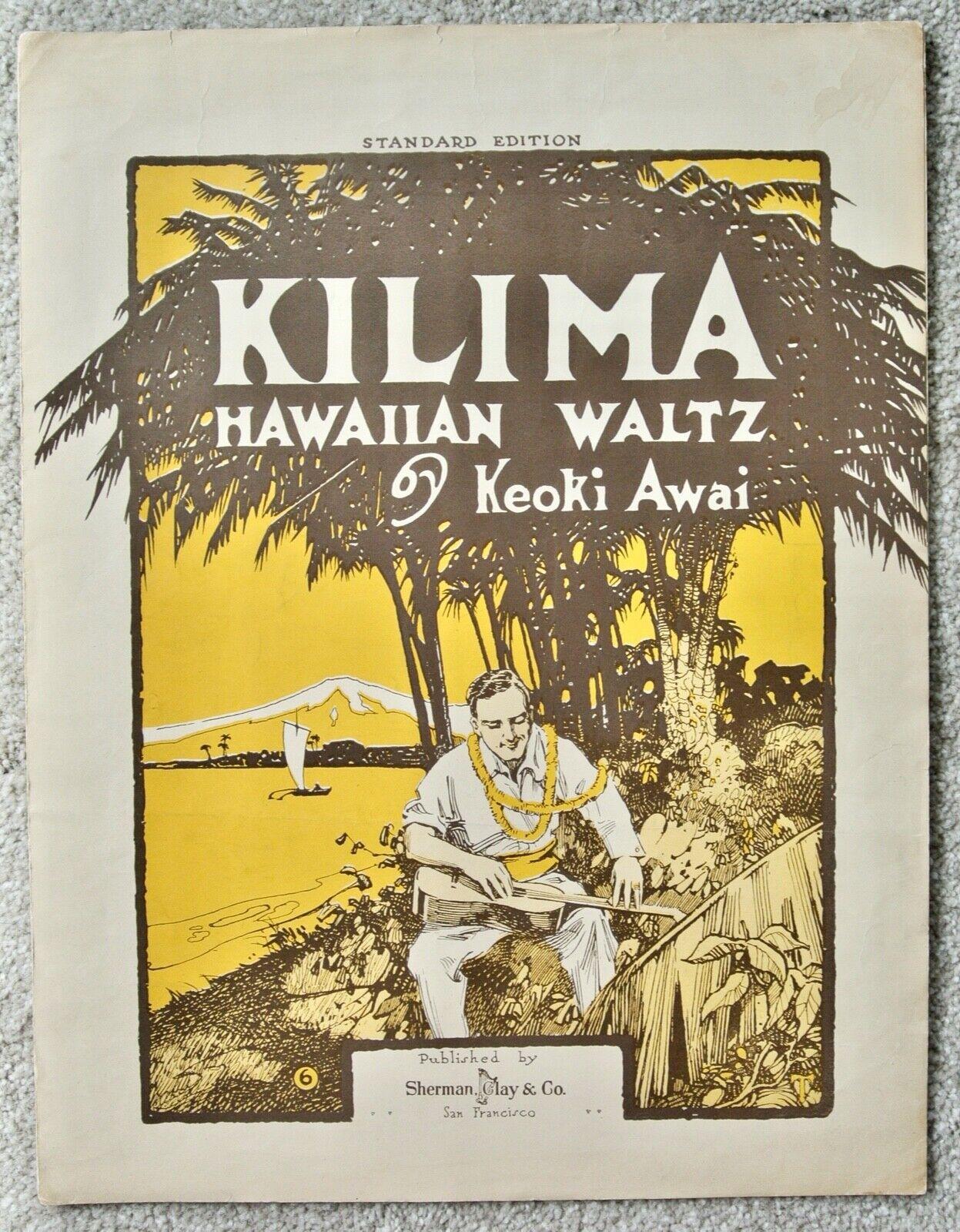 KILIMA Hawaiian Waltz Sheet Music 1916 Aloha Hawaii Piano Solo Large Format - $14.95
