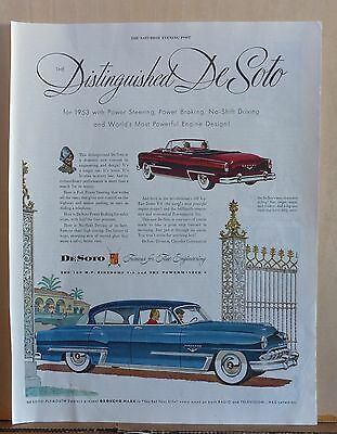 1953 magazine ad for DeSoto - Distinguished, Firedome & Convertible