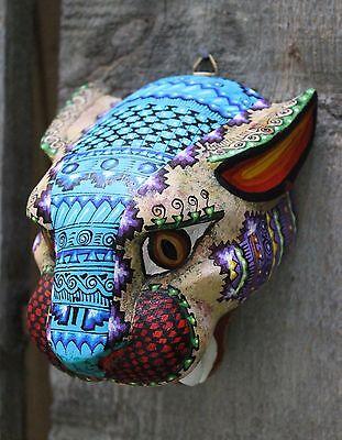 #1 Alebrijes Jaguar Head Hand Carved & Painted Wood Oaxaca Mexico Folk Art