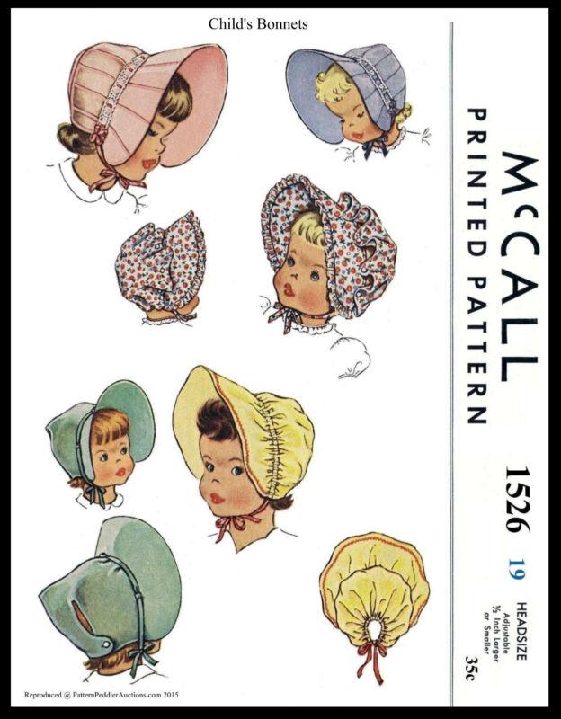 "Baby BONNET HAT Cute GIRL Child Colonial 19"" McCall 1526 VTG 50"