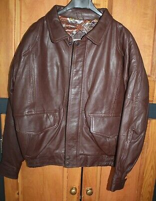 Mens 80s 90s Vintage Brown Leather Bomber Jacket - Small