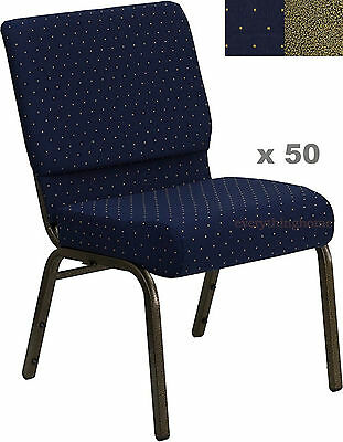 Lot Of 50 21 Wide Stacking Blue Church Chairs Gold Dot Frame 4 Seat 800 Lb Wt