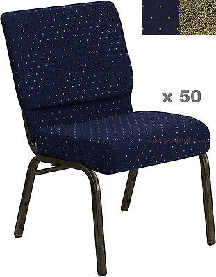 "Stacking Church Chairs (LOT OF 50 21'' WIDE STACKING BLUE CHURCH CHAIRS GOLD DOT FRAME 4"" SEAT 800 LB)"