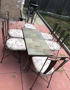 Outdoor Iron Table with 6 Chairs