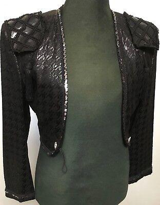 Kostüm Torero Bolero spanische Spenzerjacke schwarz mit Lackeffekt Gr. 44/46