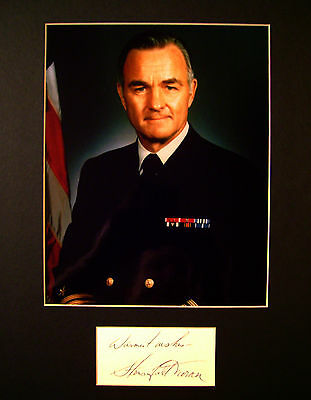CIA 12th Director Four-Star Admiral Stansfield Turner SIGNED CUTT MATTED