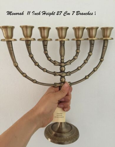 """Amazing Classic Gold Plated Jewish Menorah 7 Branches 11"""" /25cm painted candle"""