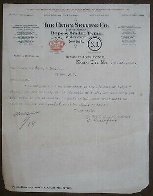 1904 Letterhead Kansas City Missouri Union Selling Company Rope Twine Crown - Party City Crowns
