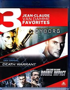JEAN CLAUDE VAN DAMME TRIPLE BLU RAY CYBORG / DEATH WARRANT / DOUBLE IMPACT NEW!
