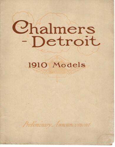 Vintage Chalmers-Detroit 1910 Model Preliminary Announcement Sales Catalog