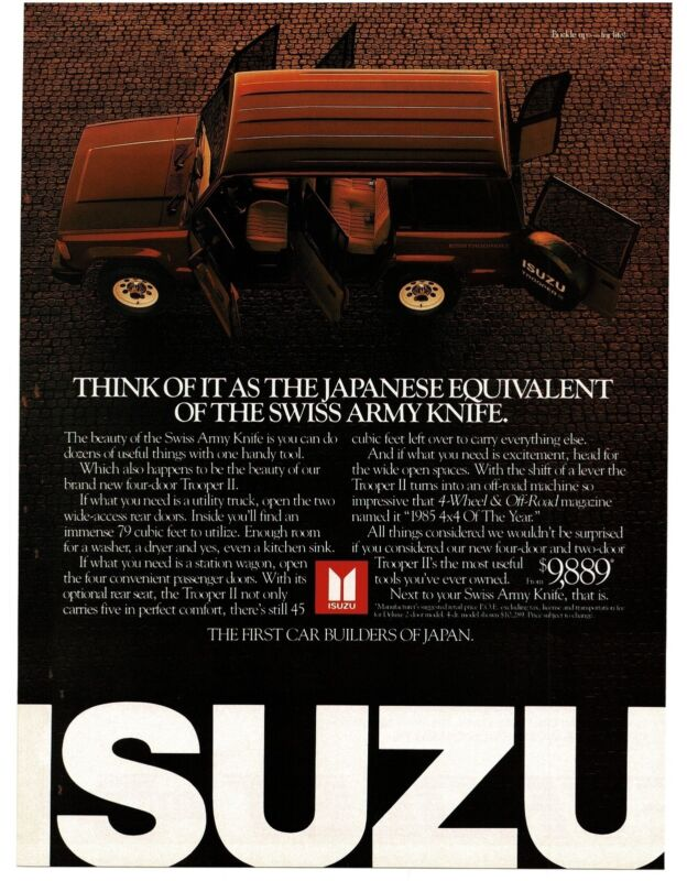 1986 ISUZU TROOPER II Black Station Wagon Vintage Ad
