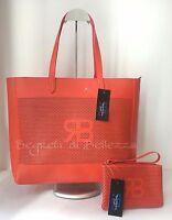 Borsa Donna Shopper + Pochette Renato Balestra In Ecopelle Saffiano Col. Corallo Arancione-  - ebay.it