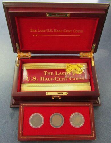 Last Half Cent Coins Set 1804 Draped Bust, 1835 Classic Head, 1854 Braided Hair
