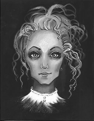 PRINT OF PAINTING ACEO HAUNTED PORTRAIT HALLOWEEN ZOMBIE FACE GOTHIC GHOST ART  (Halloween Painted Faces Zombies)