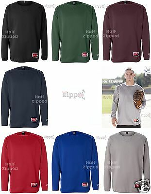 Rawlings Long Sleeve Flatback Mesh Fleece Pullover Sweatshirt 9705 S-3XL ()