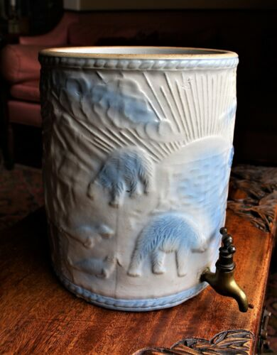 19th c. American.Uhl Pottery Stoneware Polar Bear Pattern Water Cooler c. 1885