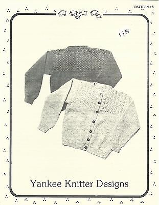 Mock Cable Pullover Cardigan Sweater Knitting Pattern Yankee Knitter #8 - Knitted Cardigan Sweater Patterns