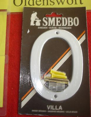 Hausnummer 0 Smedbo Nummer Messing weiß 12 cm  793