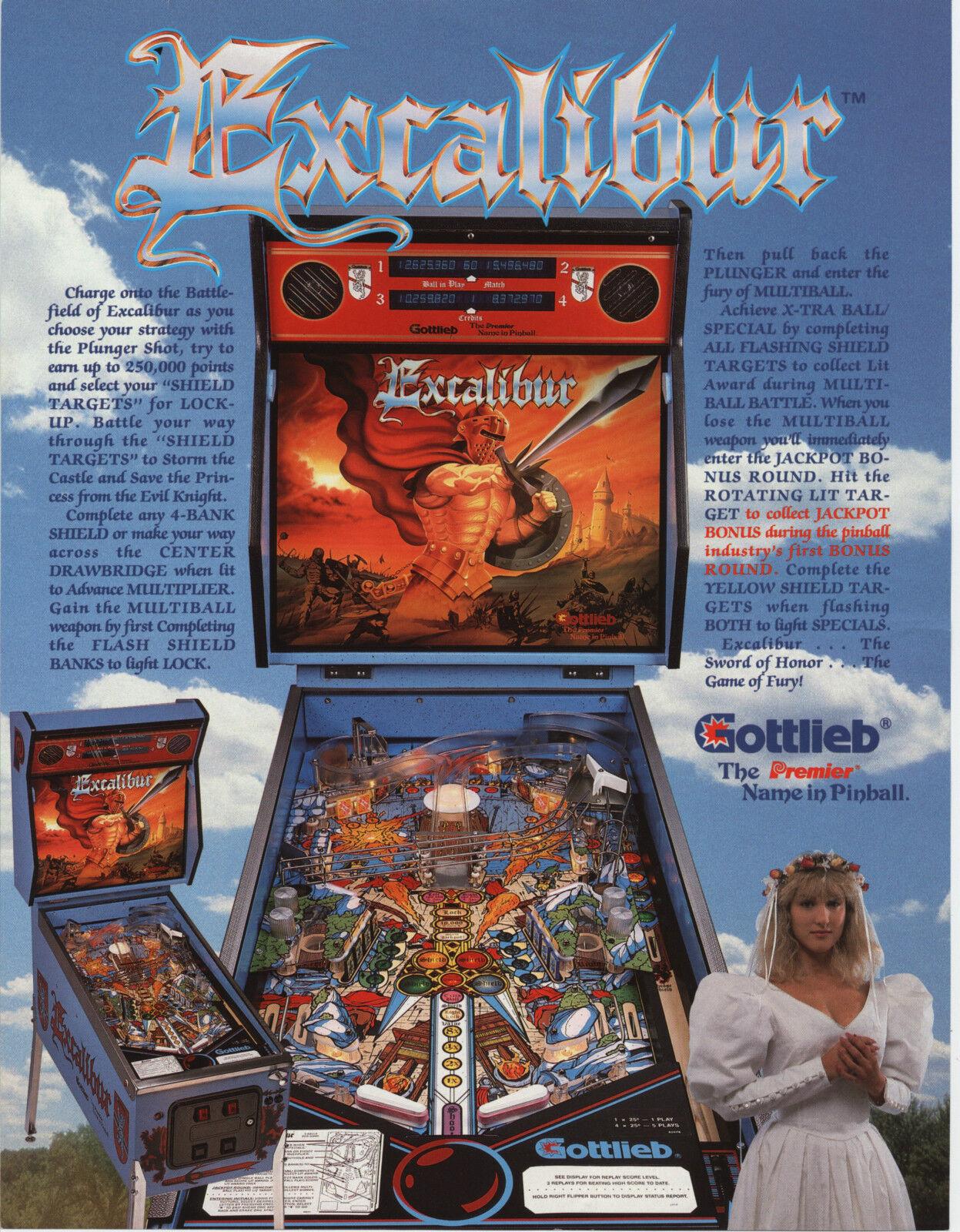1988 Gottlieb Excalibur Pinball Flyer Mint 10 80 Picclick
