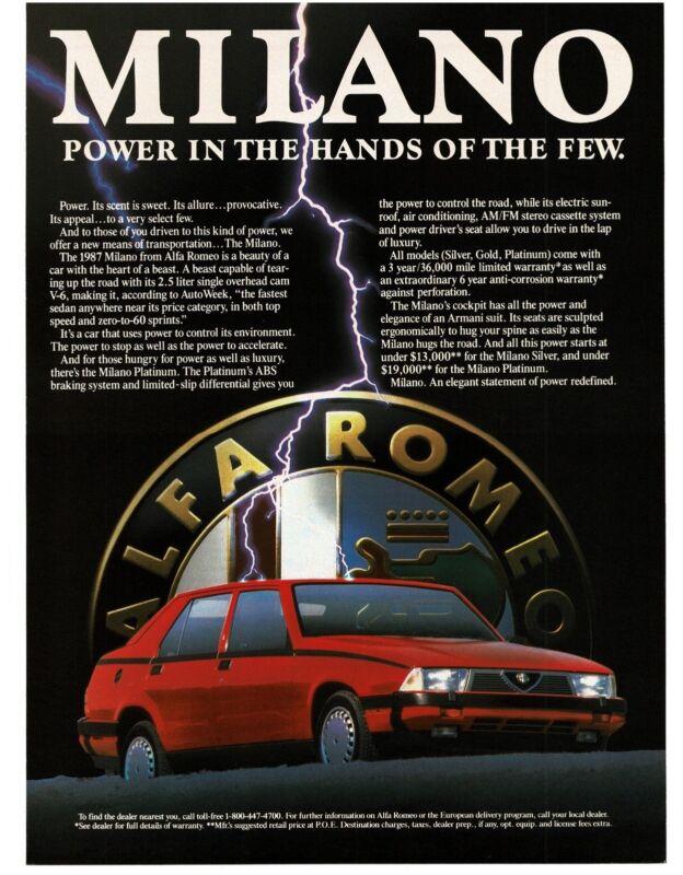 1986 ALFA ROMEO Milano Red 4-door Hardtop art Vintage Ad