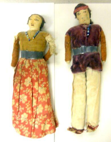 """Vintage Pair Of Real Skookum Native American Navajo Dolls With Metal Belts 8"""""""
