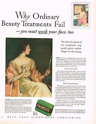 1920s BIG Vintage Palmolive Soap Flapper Fashion Louis Thompson Art Print Ad