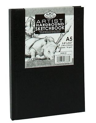 A5 Royal & Langnickel Sketchbook Case Bound Black Hardback Sketch Pad 90gsm