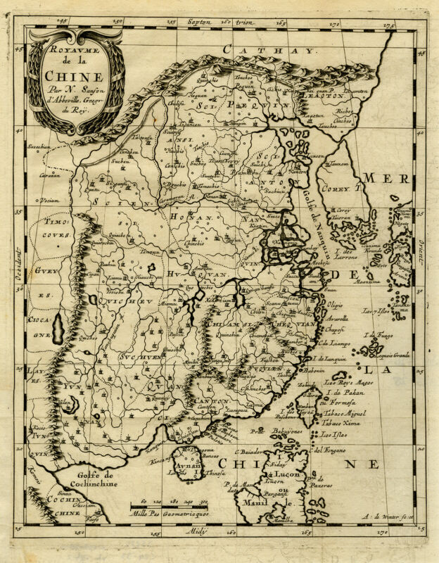 Antique Map-CHINA-CHINE-ASIA-KOREA-TAIWAN-Nicolas Sanson d